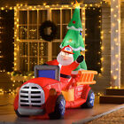 75 Christmas Holiday Yard Inflatable Blow Up Santa Fire Truck w Tree  LED