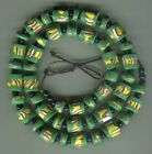 African Trade beads Vintage Venetian old glass green fancy and millefiori slices