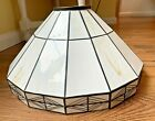 Tiffany Style Stained Ivory Slag Glass Lamp Shade 13 Art Deco Mission