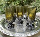 VTG Olive Green Water Tea Goblets Glass Madeira by Tiffin Franciscan Lot Of 5