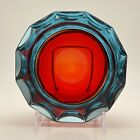 Vintage Murano Glass Geode Red Faceted Blue Rim Bowl c1950 60s
