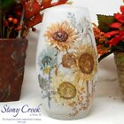 Fall Dcor Artistic Twist with Sunflowers Tall Glass Vase BNS1205 by Stony Creek