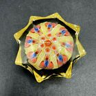 Vtg Strathearn Scotland Glass Paperweight Star Shaped Millefiori with Label