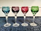 Beautiful Set of 4 Pasco Cordial Glasses Cut to Clear Bavaria Germany Immaculate