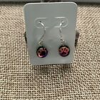 NEW Dichroic Fused Glass Pink Black Paw Dog Cat Print Sterling Silver Earrings