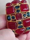 CHANEL 1980s Maison Gripoix Red Glass blue crystal Cuff 7in wrist small