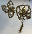 German Antique Vintage Tinsel Wire Wrapped Glass Ball Christmas Holiday Ornament