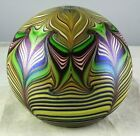 Orient  Flume Pulled Feather Studio Art Glass Paperweight 1978 Elaborate Multic