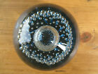 Large Whitefriars Controlled Bubble Glass Paperweight Blue