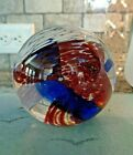 Signed Fred WILKERSON Studio Art Glass Spiral Red White Blue Paperweight 2007