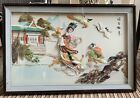 Vintage Large Framed Chinese Asian Carved Shell Art 35 x 23 1 2 Glass Front