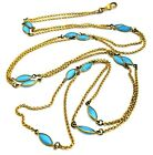Vintage Jewellery Rolled Gold Turquoise Glass Muff Long Guard Chain Necklace