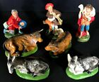 Vintage 1950s Italian Nativity Figurines Replacement 7 Pieces People Animals