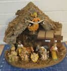 Vintage Nativity Creche Set 9 Figurines Manger Wood Italy Beautiful condition