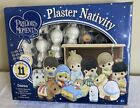 NIB Precious Moments Paintable Plaster Nativity 11 Figurines  Stable Colorbok
