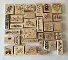 Christmas Wood Mounted Rubber Stamps Bundle of 32 Stamps