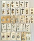 Vintage Rhinestone Buttons Glass Plastic Carded LRG LOT 32 Cards Retro LE MODE