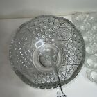 LE Smith Glass Cupped Punch Bowl  18 Cups In The Daisy  Button Pattern