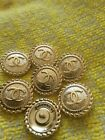6 Stamped Chanel Buttons LOGO CC gold 08 inch 20 mm gold