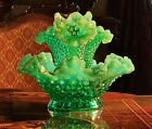 FENTON Green Opalescent Hobnail Epergne 3 Horn Uranium Glass Double Boxed A++