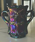 Fenton Blue Purple Iridized Carnival Glass Pitcher With Two Handles 6 Tall