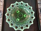 1906 Northwood Glass SHELL  WILD ROSE Open Lace Footed BOWL Green Opalescent