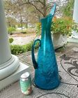 Blenko 976 Large 20 Art Glass Pitcher by Winslow Anderson 1954 58 Teal peacock