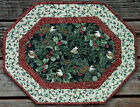 Handcrafted Quilted Table Runner Topper CHRISTMAS CHICKADEE PINE CONE HOLLY