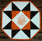 Handcrafted Quilted Embroidered Table Runner Topper HALLOWEEN PUMPKIN WHEAT BAT