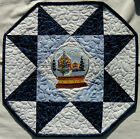 Handcrafted Quilted Table Runner Topper WINTER SOLITUDE SNOWGLOBE WREATH HOUSE