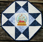 Handcrafted Quilted Table Runner Topper CHRISTMAS SNOWGLOBE CANDLES POINSETTIA