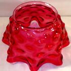 Victorian Glass Cranberry Hobnail Ruffled Oil Gas Lamp Light Shade 5 fitter