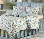 BLUE JACOBEAN Full / Queen QUILT SET - WILLIAMSBURG TEAL FLORAL COMFORTER