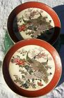 SET OF 2 MARKED SATSUMA JAPANESE PEACOCK 6 3/8