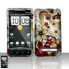 Red Flowers Hard Case Snap on Cover Sprint HTC EVO 4G