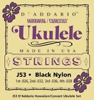 New DAddario Hawaiian Concert Black Uke Strings J53