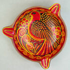 Vtg ASHTRAY Art Pottery RED Tropical BIRD Yellow Scrolls Natural Clay footed