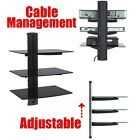 3-tier Adjustable Component Wall Mount Shelf Glass Shelving System for DVD HD Bo