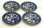 Set of 4 Blue Willow Antique Vintage China Saucers w/ Pagoda Scene