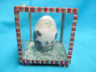 VINTAGE MID-CENTURY CHINESE HAND PAINTED REAL EGG IN GLASS CASE