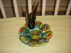 Vintage Glass Swan Candy Dish Multi Colored Glass Large Glass Swan