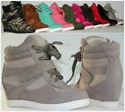 NEW Women's Fashion Lace Up High Top Ankle Wedge Heels Sneaker Booties Shoes