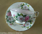 PARAGON Pink White Roses  GOLD VINTAGE TEACUP TEA CUP AND SAUCER SET England