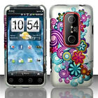 For Sprint HTC EVO 3D Protector HARD Case Snap on Phone Cover Purple Blue Flower