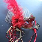Red Venetian Masquerade Mask w/Ostrich Feathers Party Prom Mardi Gras Halloween