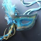 Aqua Blue Venetian Masquerade Mask w/Ostrich Feathers Party Prom Halloween