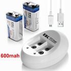 2x 9V 600mAh Li-ion Lithium Ion Rechargeable Battery + NiMH NiCd Battery Charger