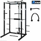 RYNO ULTIMATE POWER RACK SQUAT CAGE GYM w LAT PULL DOWN SEATED ROW ARM CURL