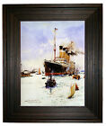 Dixon RMS Olympic leaving Southampton - Rustic Brown Framed Canvas Art S 18x22