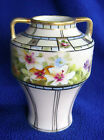 Nippon Vase Handpainted Flowers Gold Trim 5 3/4